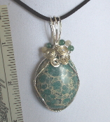 Wire Wrapped Cabachon Aqua Terra