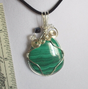 Wire Wrapped Cabachon Malachite