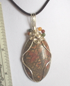 Wire Wrapped Cabachon Picasso Jasper Oval