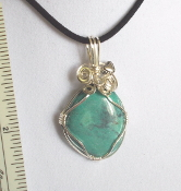 Wire Wrapped Cabachon Chrysocolla with Heart
