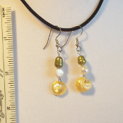 Earrings, Shell and Pearl
