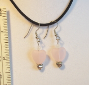 Earrings, Rose Quartz Hearts & Beads